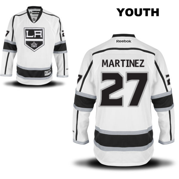 Alec Martinez Youth Reebok Los Angeles Kings Away Authentic no. 27 Stitched White NHL Jersey - Alec Martinez Jersey