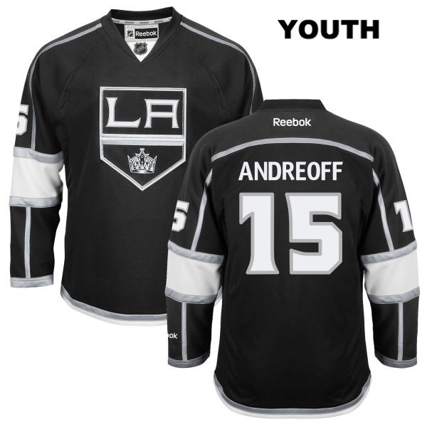Andy Andreoff Youth Home Los Angeles Kings Stitched Authentic Reebok no. 15 Black NHL Jersey