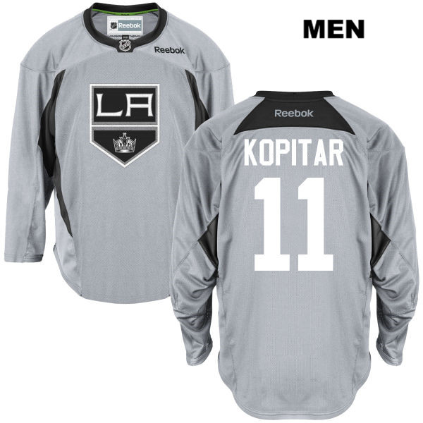 Anze Kopitar Practice Mens Stitched Los Angeles Kings Reebok Authentic no. 11 Gray NHL Jersey - Anze Kopitar Jersey