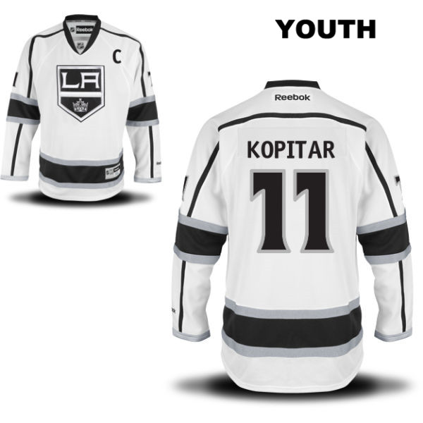Anze Kopitar Away Youth Los Angeles Kings Stitched Authentic no. 11 Reebok White NHL Jersey - Anze Kopitar Jersey