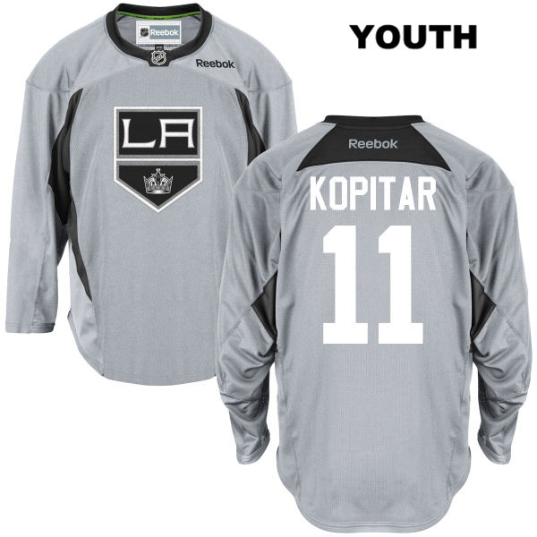 Anze Kopitar Youth Stitched Los Angeles Kings Authentic Reebok Practice no. 11 Gray NHL Jersey - Anze Kopitar Jersey