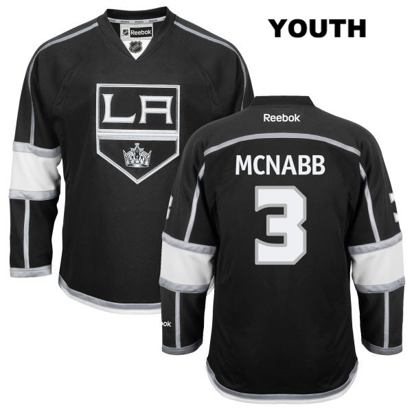 Brayden McNabb Youth Stitched Los Angeles Kings Authentic Home no. 3 Reebok Black NHL Jersey - Brayden McNabb Jersey