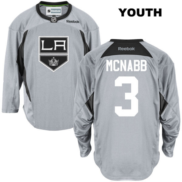 Reebok Brayden McNabb Youth Practice Los Angeles Kings Stitched Authentic no. 3 Gray NHL Jersey - Brayden McNabb Jersey