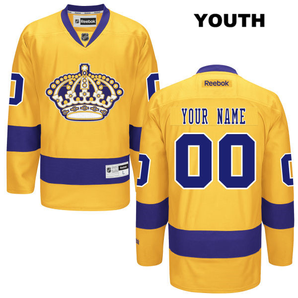 Customize Youth Reebok Los Angeles Kings Stitched Authentic customize Alternate Gold NHL Jersey - Customize Jersey