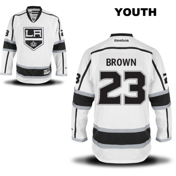 Dustin Brown Away Reebok Youth Los Angeles Kings Stitched Authentic no. 23 White NHL Jersey - Dustin Brown Youth Jersey
