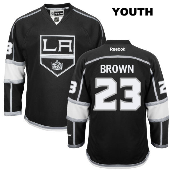 Stitched Dustin Brown Youth Los Angeles Kings Home Reebok Authentic no. 23 Black NHL Jersey - Dustin Brown Youth Jersey