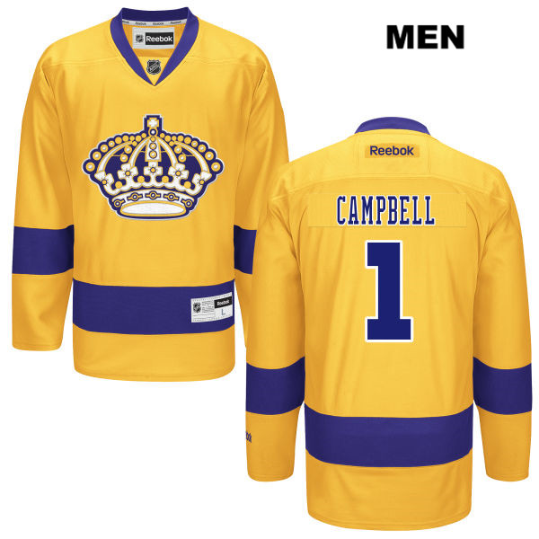 Jack Campbell Stitched Mens Los Angeles Kings Alternate Authentic Reebok no. 1 Gold NHL Jersey - Jack Campbell Jersey