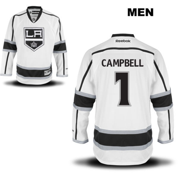 Jack Campbell Stitched Mens Los Angeles Kings Away Authentic no. 1 Reebok White NHL Jersey - Jack Campbell Jersey