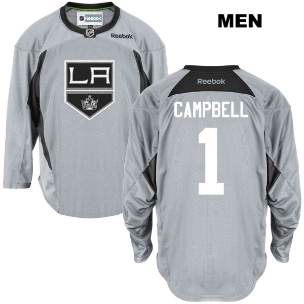 Jack Campbell Reebok Mens Los Angeles Kings Authentic Stitched Practice no. 1 Gray NHL Jersey - Jack Campbell Jersey