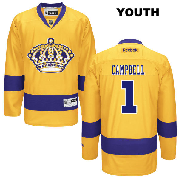 Jack Campbell Alternate Youth Los Angeles Kings Authentic Reebok no. 1 Stitched Gold NHL Jersey - Jack Campbell Jersey