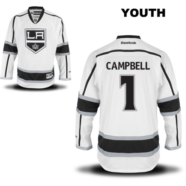 Jack Campbell Away Stitched Youth Reebok Los Angeles Kings Authentic no. 1 White NHL Jersey - Jack Campbell Jersey