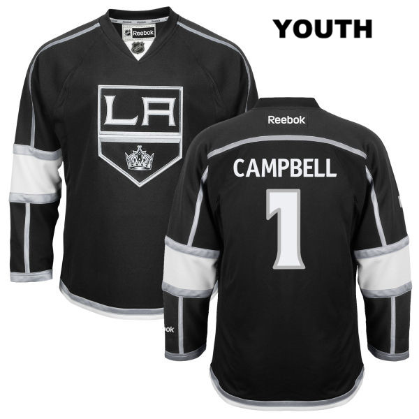 Jack Campbell Reebok Youth Los Angeles Kings Stitched Authentic no. 1 Home Black NHL Jersey - Jack Campbell Jersey