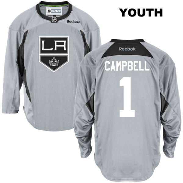 Jack Campbell Practice Youth Los Angeles Kings Reebok Authentic Stitched no. 1 Gray NHL Jersey - Jack Campbell Jersey