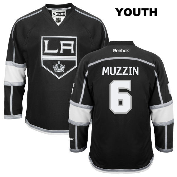 Jake Muzzin Home Youth Stitched Los Angeles Kings Reebok Authentic no. 6 Black NHL Jersey