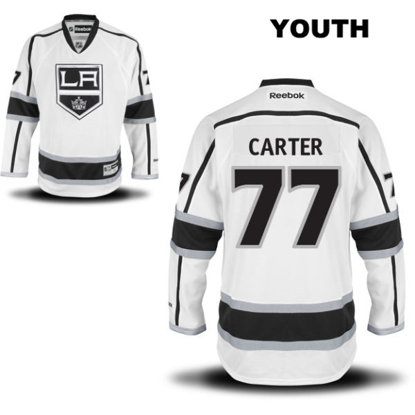 Jeff Carter Youth Reebok Los Angeles Kings Away Authentic no. 77 Stitched White NHL Jersey - Jeff Carter Jersey