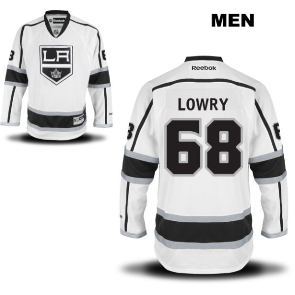 Stitched Joel Lowry Away Mens Los Angeles Kings Authentic Reebok no. 68 White NHL Jersey - Joel Lowry Jersey