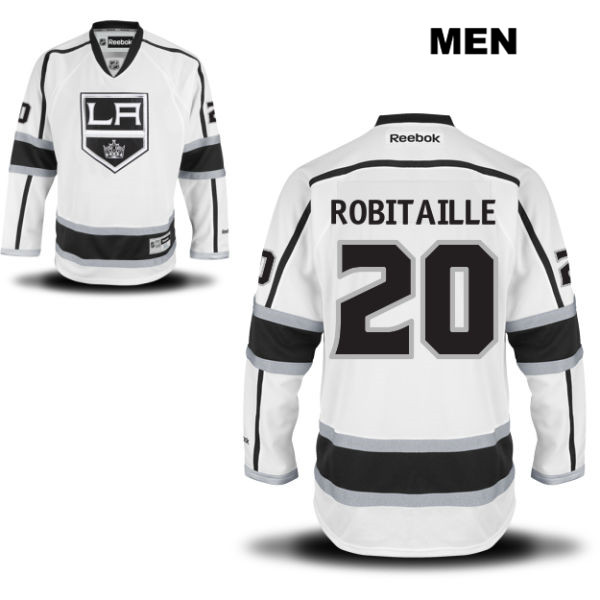 Luc Robitaille Mens Los Angeles Kings Stitched Authentic no. 20 Reebok Away White NHL Jersey - Luc Robitaille Jersey