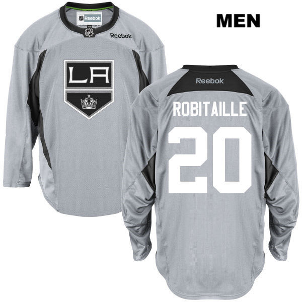 Reebok Luc Robitaille Practice Mens Los Angeles Kings Stitched Authentic no. 20 Gray NHL Jersey - Luc Robitaille Jersey