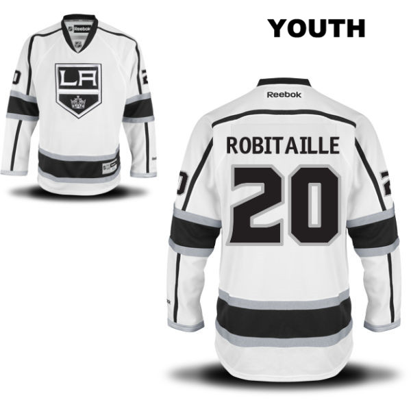 Luc Robitaille Stitched Reebok Youth Los Angeles Kings Authentic no. 20 Away White NHL Jersey - Luc Robitaille Jersey