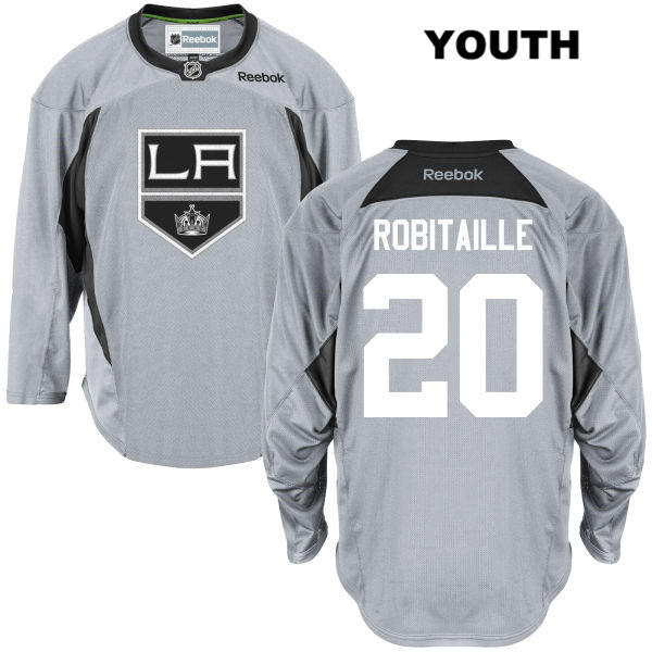 Reebok Luc Robitaille Youth Los Angeles Kings Practice Authentic no. 20 Stitched Gray NHL Jersey - Luc Robitaille Jersey