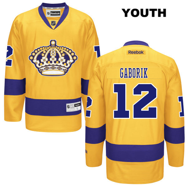 Marian Gaborik Reebok Youth Los Angeles Kings Stitched Authentic no. 12 Alternate Gold NHL Jersey - Marian Gaborik Jersey
