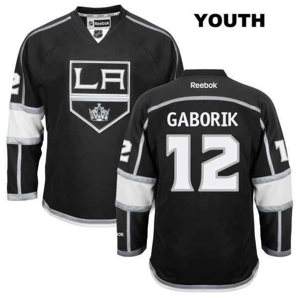 Marian Gaborik Home Youth Reebok Los Angeles Kings Stitched Authentic no. 12 Black NHL Jersey - Marian Gaborik Jersey