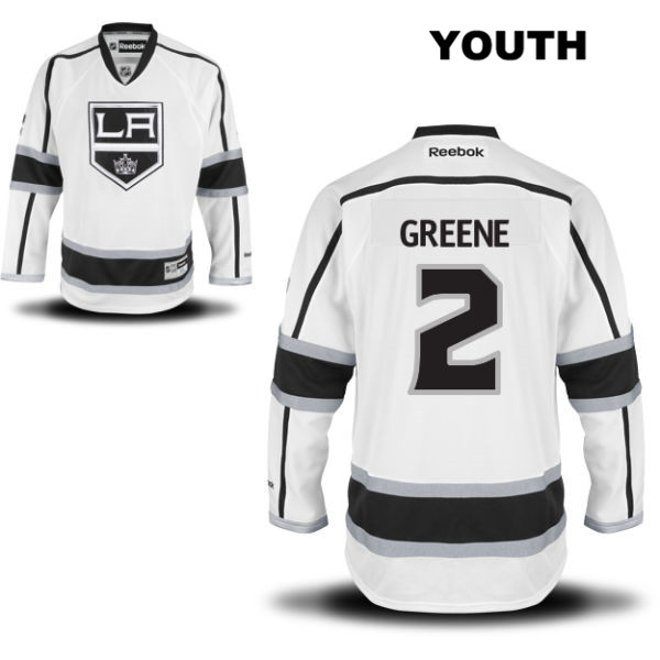 Matt Greene Stitched Reebok Youth Los Angeles Kings Authentic Away no. 2 White NHL Jersey