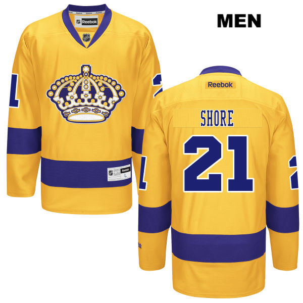 Nick Shore Mens Los Angeles Kings Reebok Authentic Alternate no. 21 Stitched Gold NHL Jersey - Nick Shore Jersey