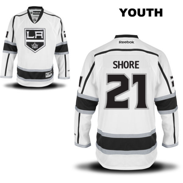 Away Nick Shore Youth Los Angeles Kings Stitched Authentic Reebok no. 21 White NHL Jersey - Nick Shore Jersey