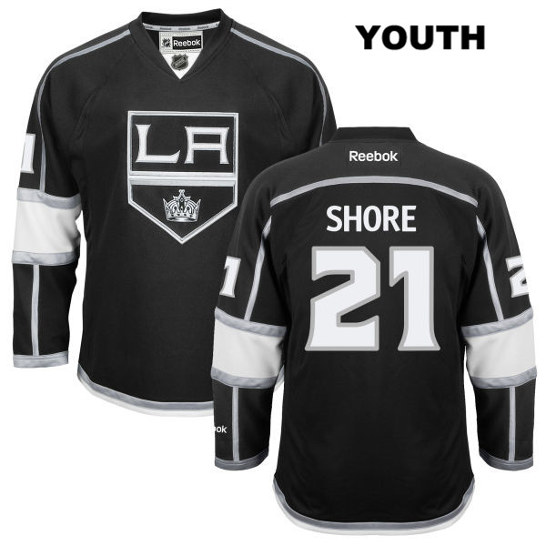 Reebok Nick Shore Youth Los Angeles Kings Stitched Authentic no. 21 Home Black NHL Jersey - Nick Shore Jersey