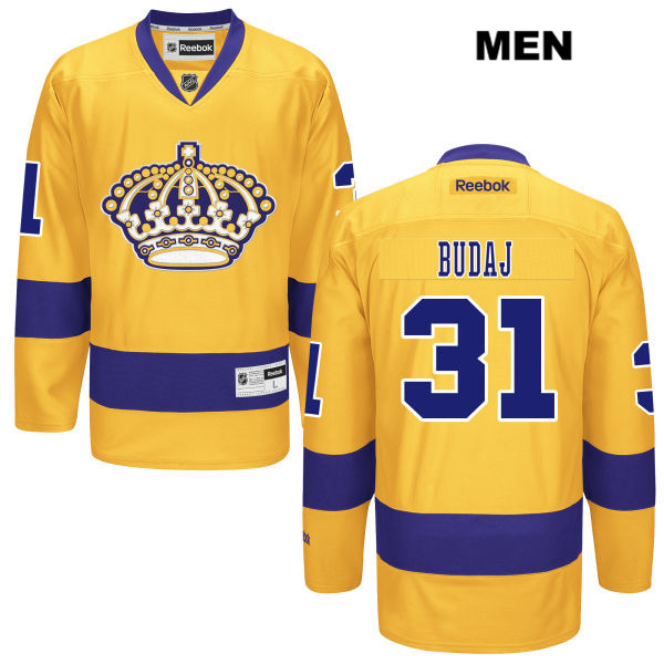 Peter Budaj Reebok Mens Los Angeles Kings Stitched Authentic Alternate no. 31 Gold NHL Jersey - Peter Budaj Jersey