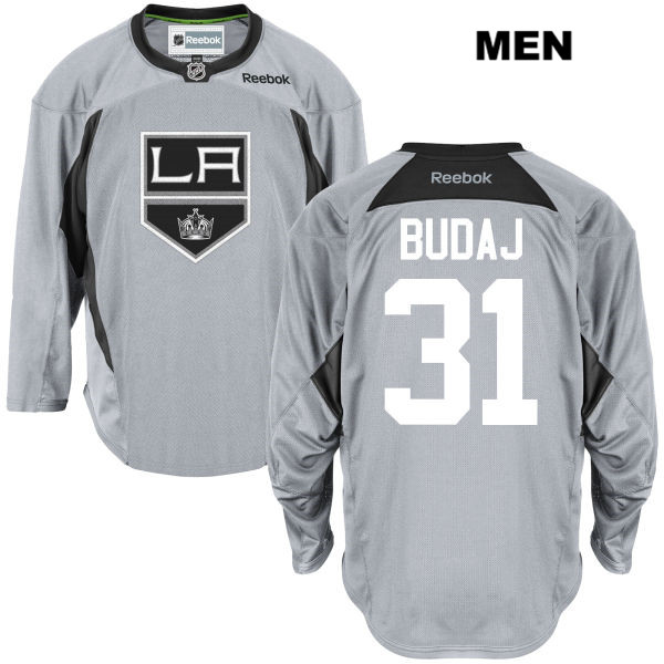 Reebok Peter Budaj Practice Mens Los Angeles Kings Authentic no. 31 Stitched Gray NHL Jersey - Peter Budaj Jersey