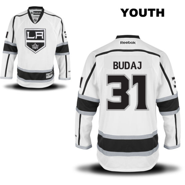 Peter Budaj Stitched Reebok Youth Los Angeles Kings Authentic Away no. 31 White NHL Jersey - Peter Budaj Jersey