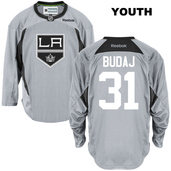 Peter Budaj Practice Youth Reebok Los Angeles Kings Authentic Stitched no. 31 Gray NHL Jersey - Peter Budaj Jersey