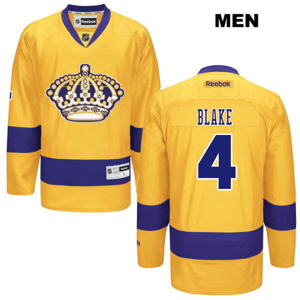 Reebok Rob Blake Alternate Stitched Mens Los Angeles Kings Authentic no. 4  Gold NHL Jersey - Los Angeles Kings Hockey Sport ce2bb4c6874