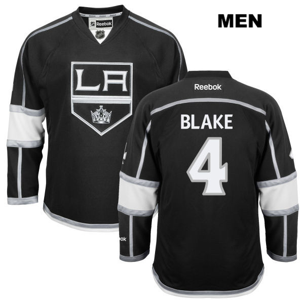 Reebok Rob Blake Mens Los Angeles Kings Home Authentic no. 4 Stitched Black NHL Jersey