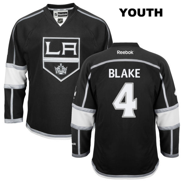 Stitched Rob Blake Reebok Youth Los Angeles Kings Authentic Home no. 4 Black NHL Jersey