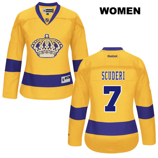Rob Scuderi Womens Los Angeles Kings Reebok Authentic Stitched Alternate no. 7 Gold NHL Jersey - Rob Scuderi Jersey