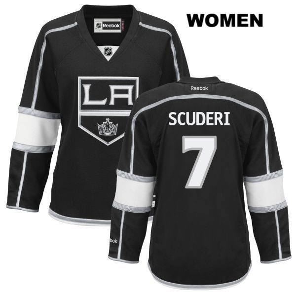 Stitched Rob Scuderi Home Womens Los Angeles Kings Authentic no. 7 Reebok Black NHL Jersey - Rob Scuderi Jersey