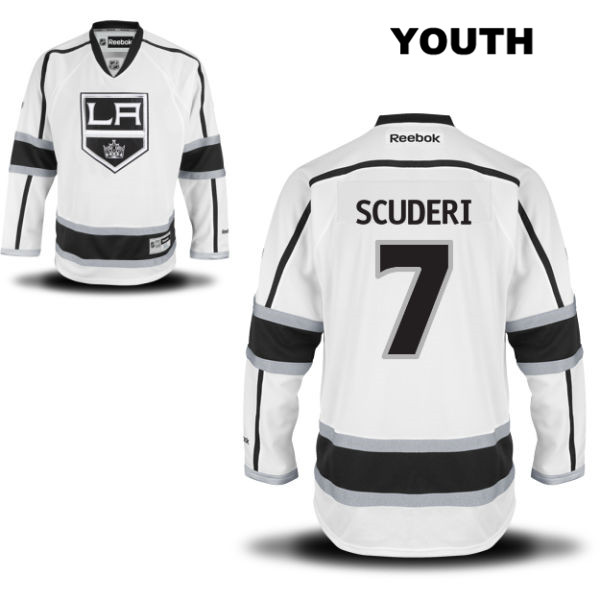 Away Rob Scuderi Youth Reebok Los Angeles Kings Authentic no. 7 Stitched White NHL Jersey - Rob Scuderi Jersey