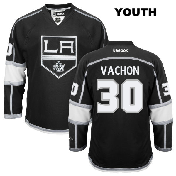 Rogie Vachon Stitched Youth Reebok Los Angeles Kings Authentic no. 30 Home Black NHL Jersey - Rogie Vachon Jersey