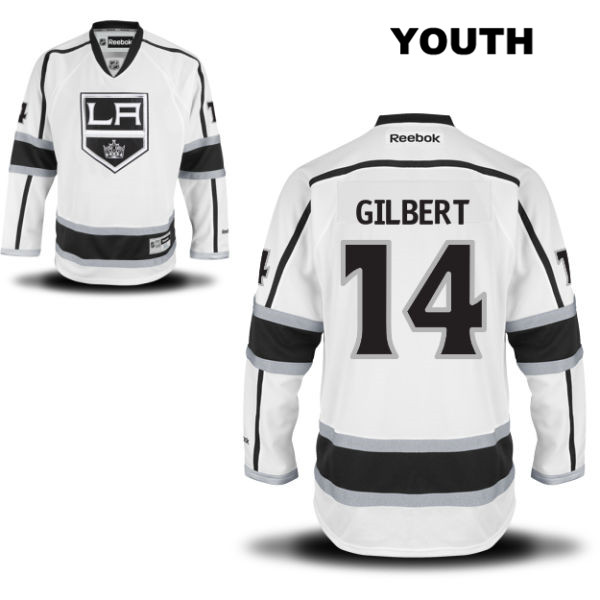 Tom Gilbert Away Youth Los Angeles Kings Authentic no. 14 Stitched Reebok White NHL Jersey