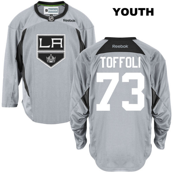 Tyler Toffoli Stitched Youth Los Angeles Kings Reebok Authentic no. 73 Practice Gray NHL Jersey